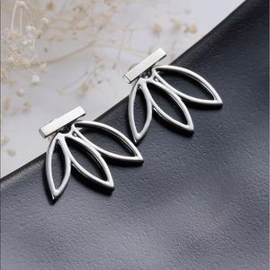Lotus earrings silver bar LF jewelry
